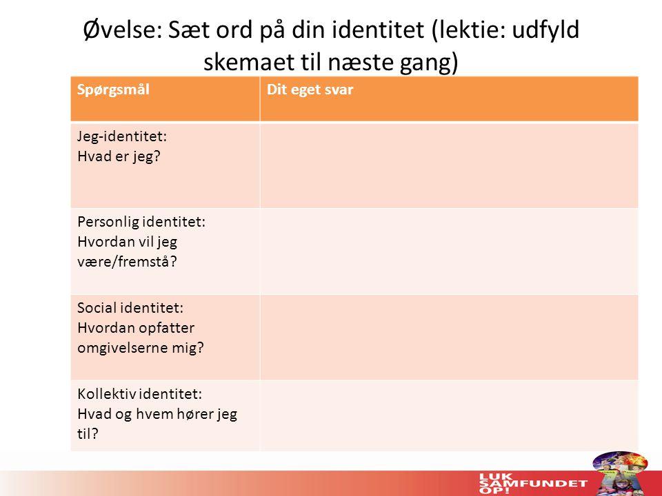 Øvelse: Sæt ord på din identitet (lektie: udfyld skemaet til næste gang)