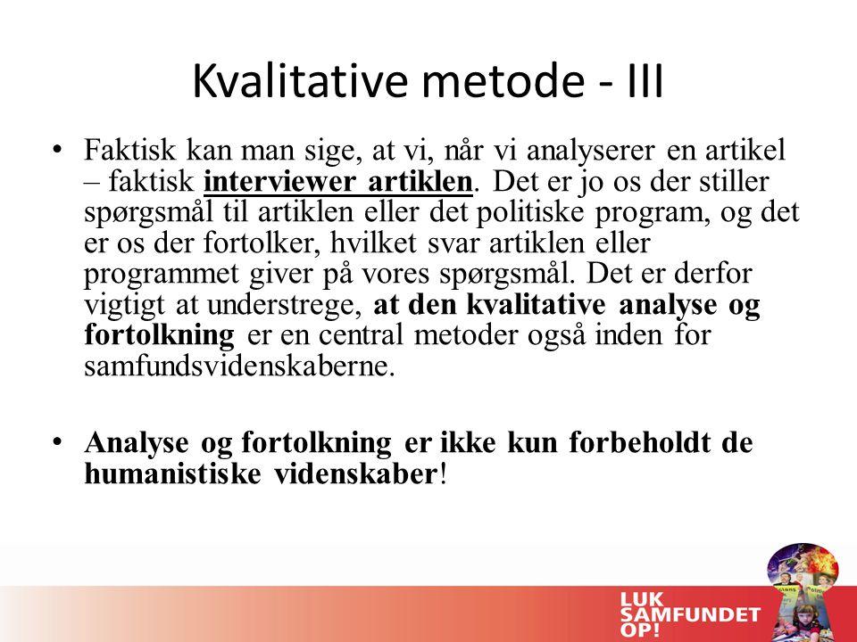 Kvalitative metode - III