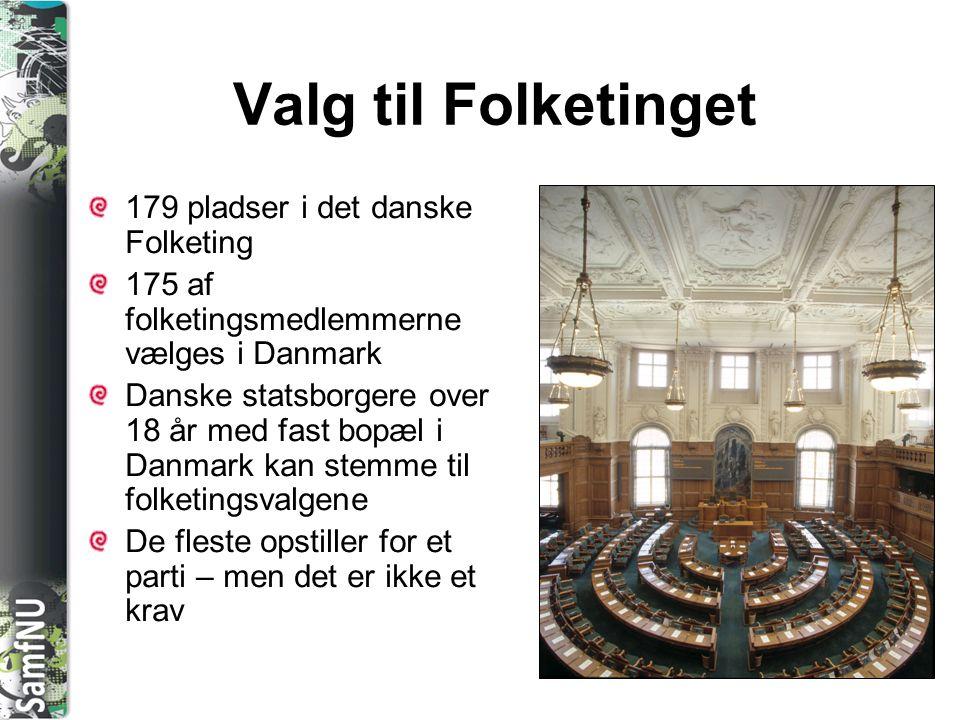 Valg til Folketinget 179 pladser i det danske Folketing