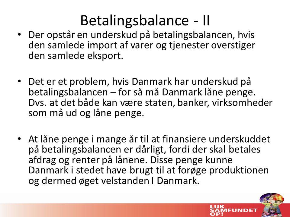 Betalingsbalance - II Der opstår en underskud på betalingsbalancen, hvis den samlede import af varer og tjenester overstiger den samlede eksport.