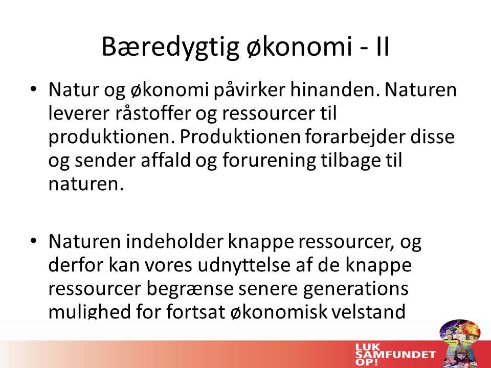 Bæredygtig økonomi - II