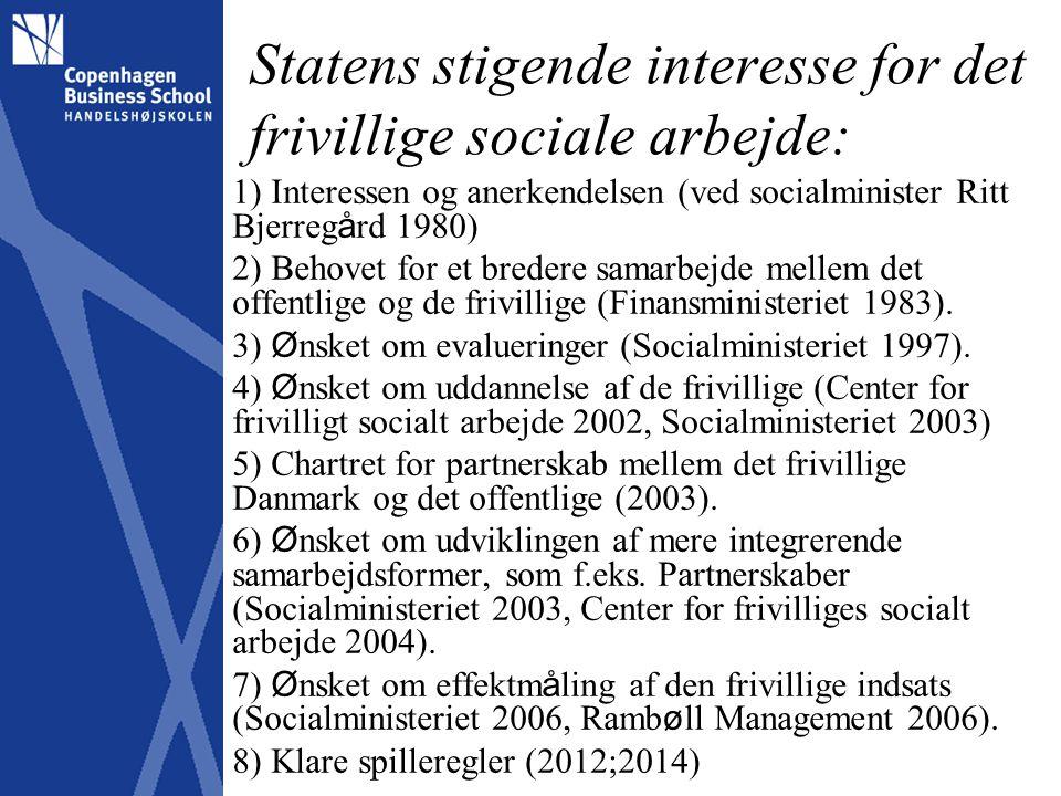 Statens stigende interesse for det frivillige sociale arbejde: