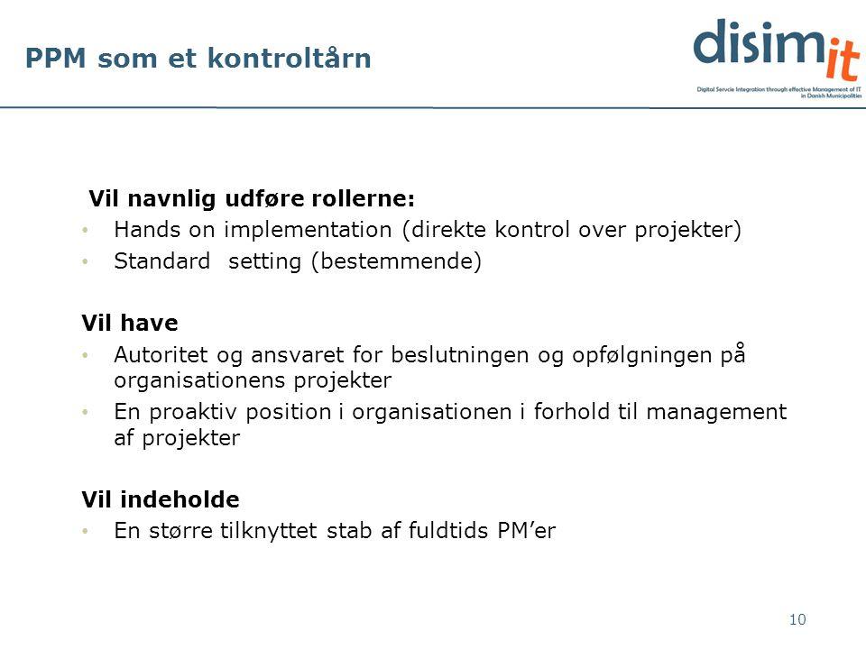 PPM som et kontroltårn Vil navnlig udføre rollerne: