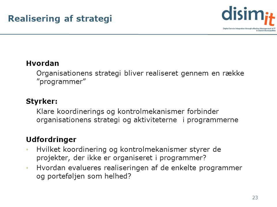 Realisering af strategi
