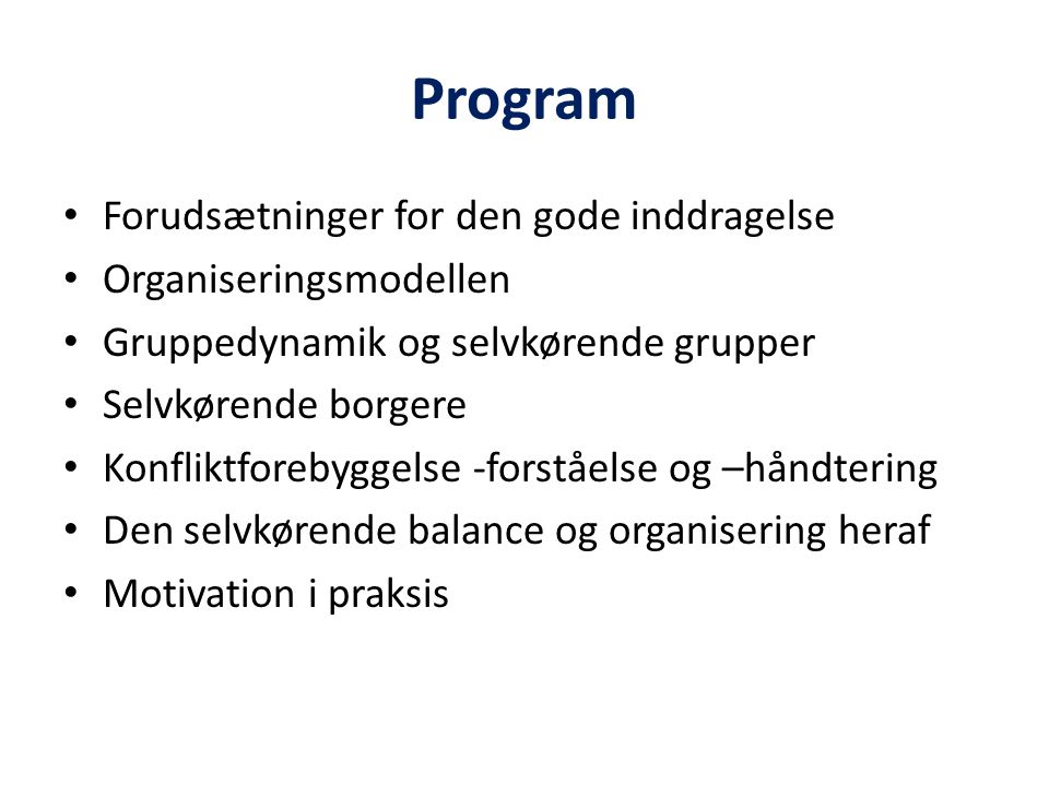 Program Forudsætninger for den gode inddragelse Organiseringsmodellen