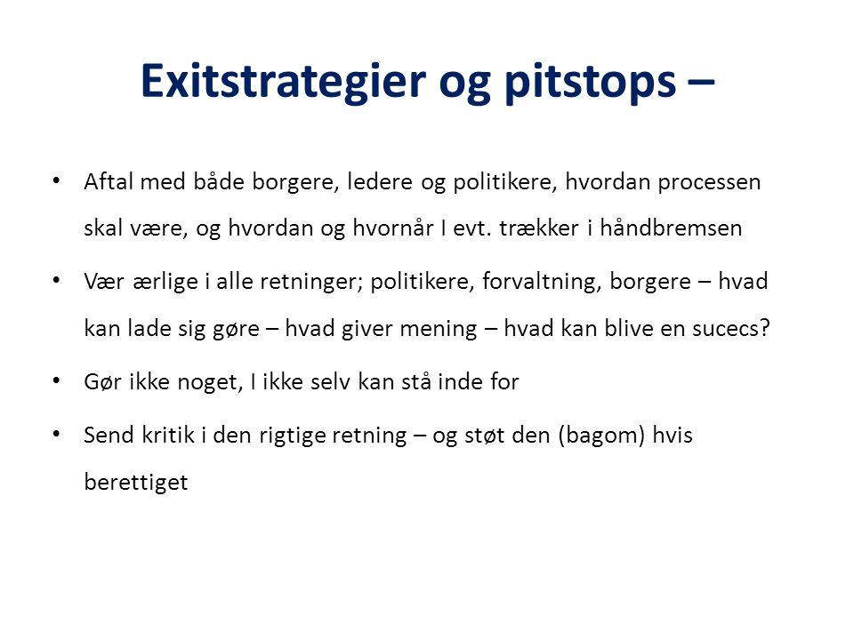 Exitstrategier og pitstops –