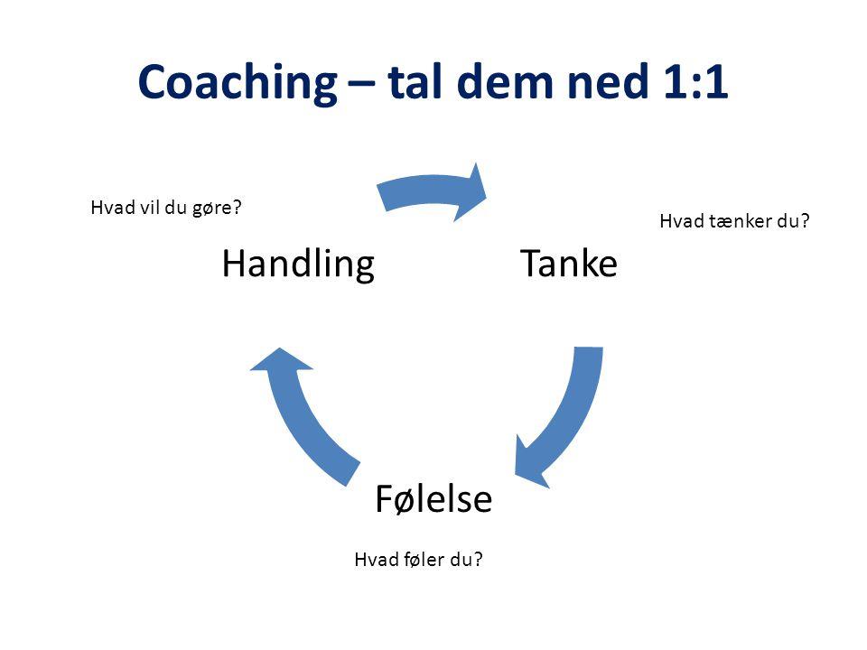 Coaching – tal dem ned 1:1 Hvad vil du gøre Hvad tænker du