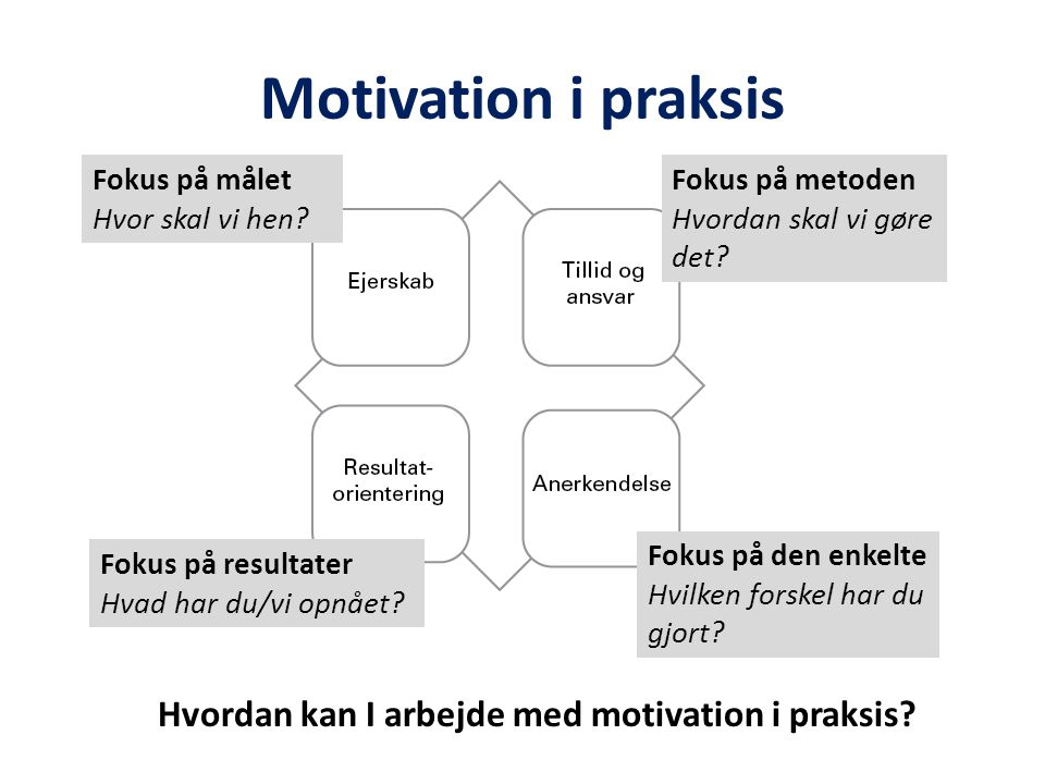 Motivation i praksis Hvordan kan I arbejde med motivation i praksis