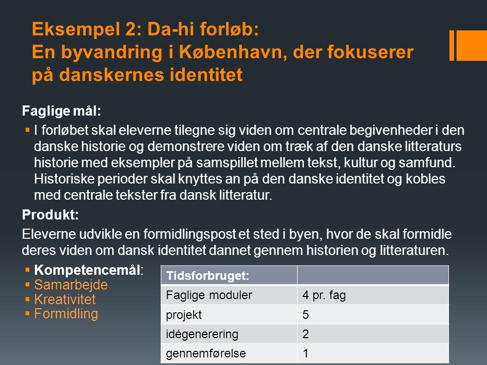 ved Lauta Eksempel 2: Da-hi forløb: En byvandring i København, der fokuserer på danskernes identitet.