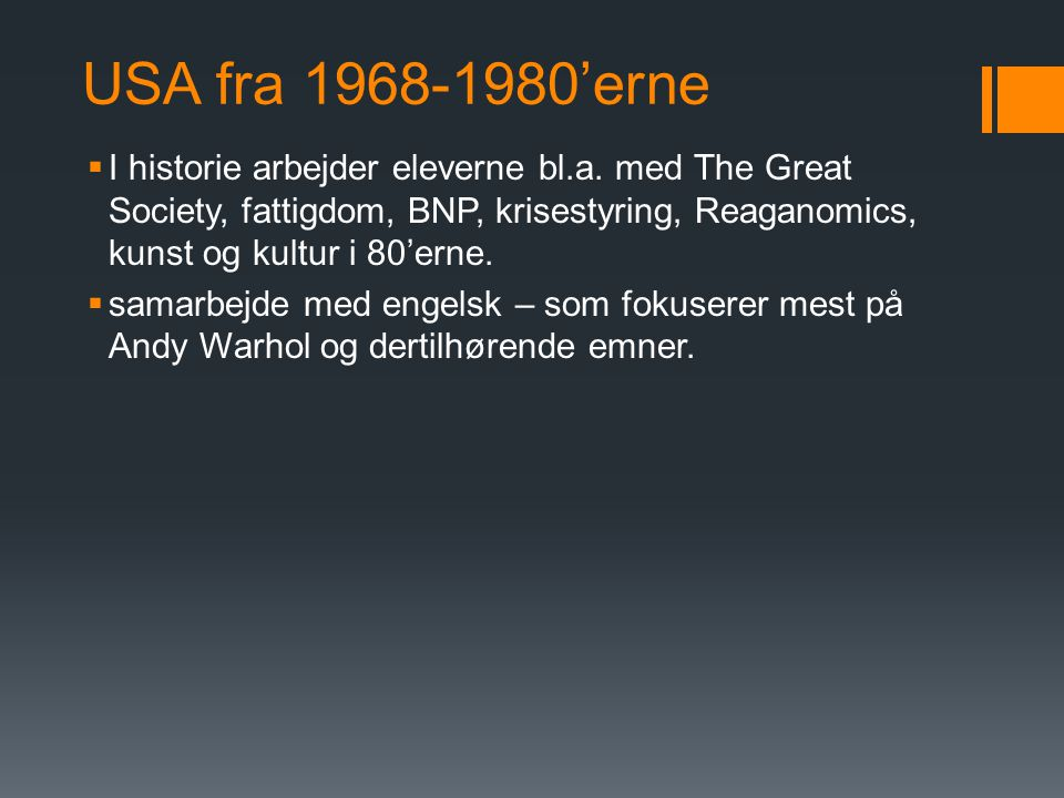 USA fra 1968-1980'erne