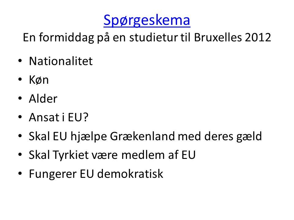 Spørgeskema En formiddag på en studietur til Bruxelles 2012