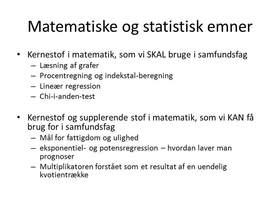Matematiske og statistisk emner