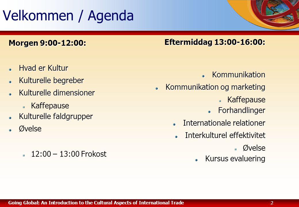 Velkommen / Agenda Eftermiddag 13:00-16:00: Morgen 9:00-12:00:
