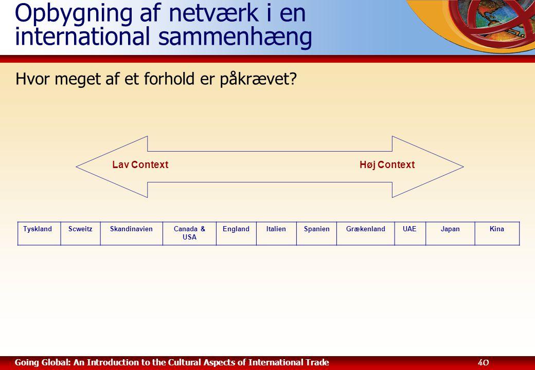 Opbygning af netværk i en international sammenhæng