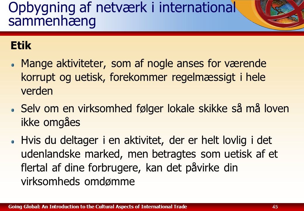Opbygning af netværk i international sammenhæng