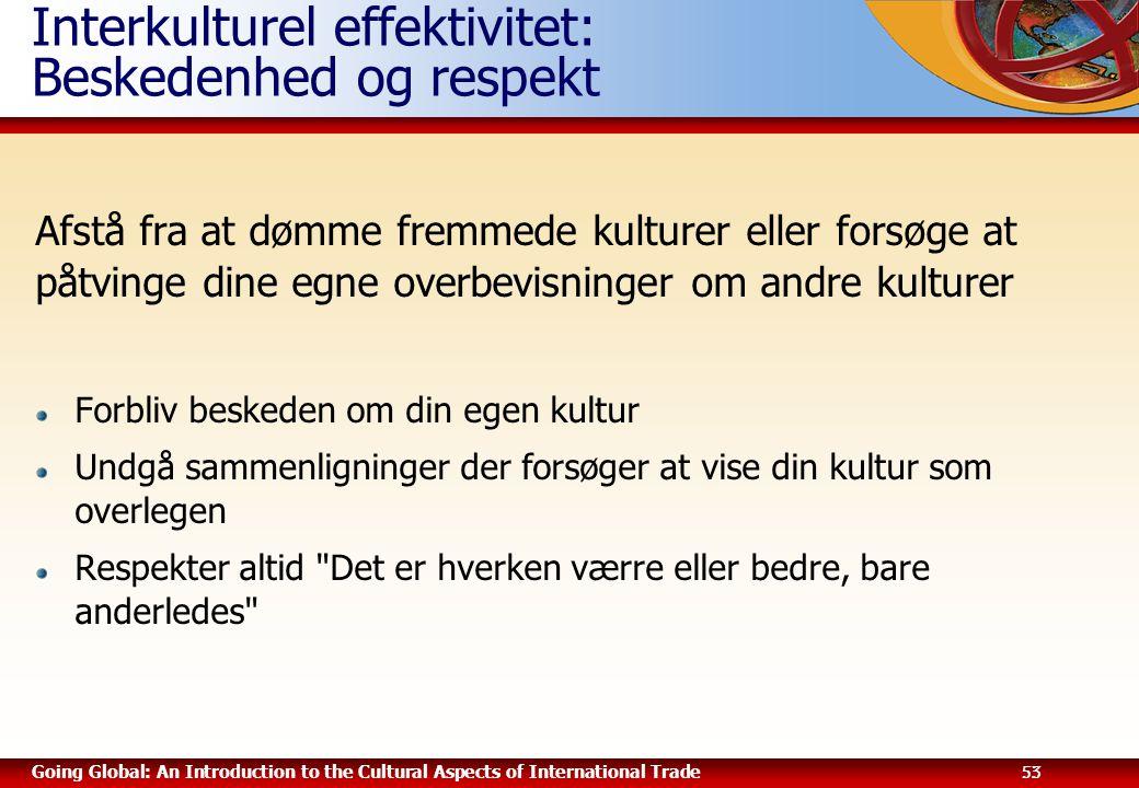 Interkulturel effektivitet: Beskedenhed og respekt