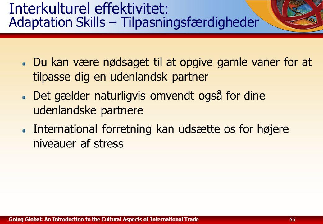 Interkulturel effektivitet: Adaptation Skills – Tilpasningsfærdigheder