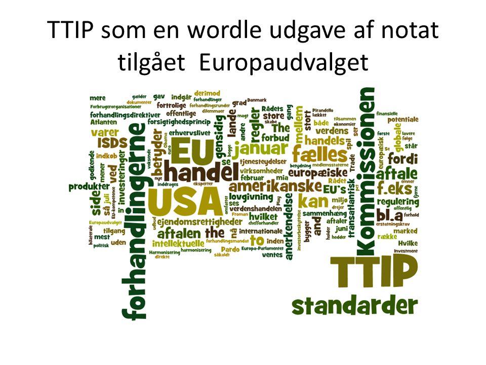 TTIP som en wordle udgave af notat tilgået Europaudvalget
