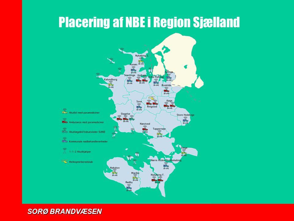 Placering af NBE i Region Sjælland