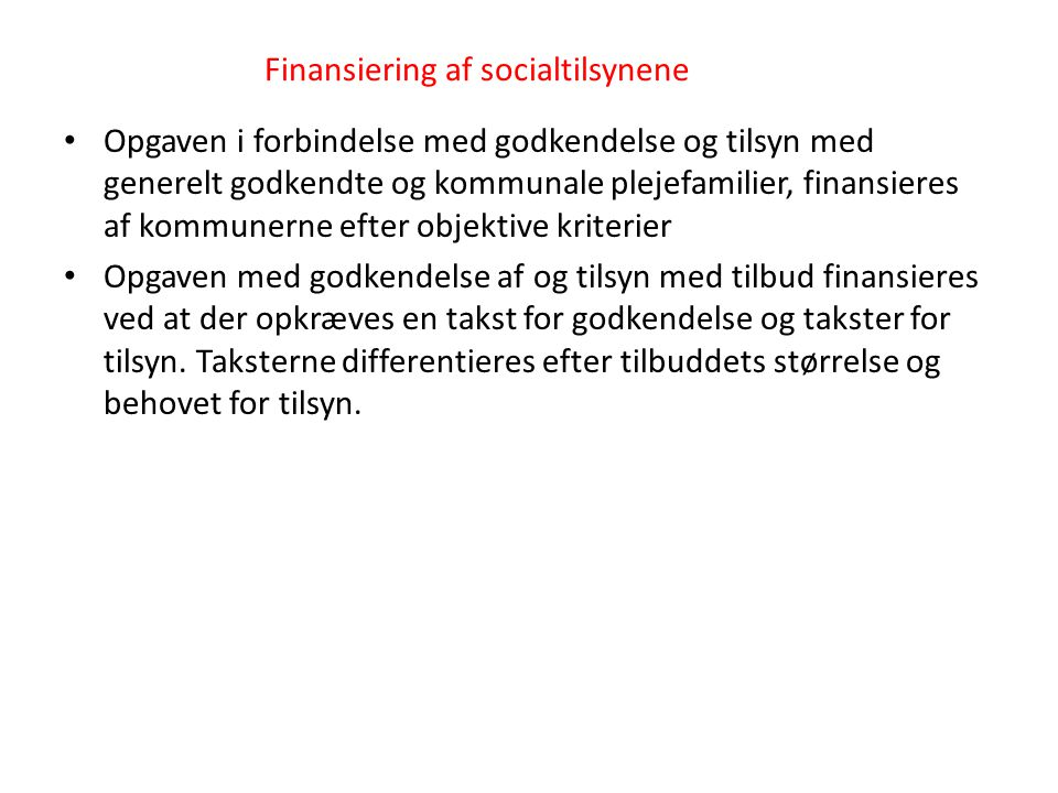 Finansiering af socialtilsynene