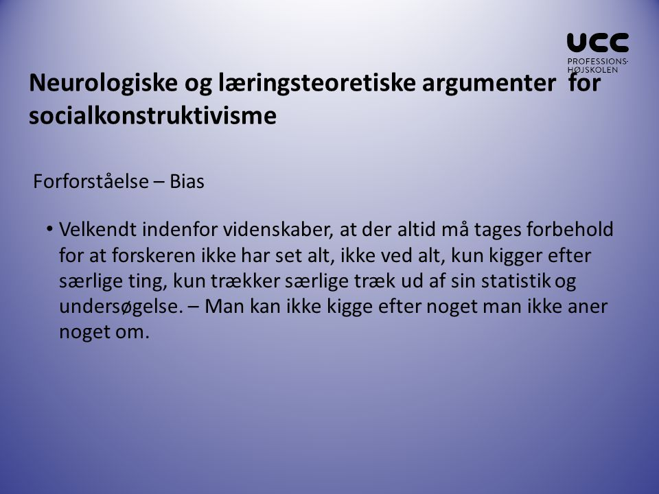 Neurologiske og læringsteoretiske argumenter for socialkonstruktivisme