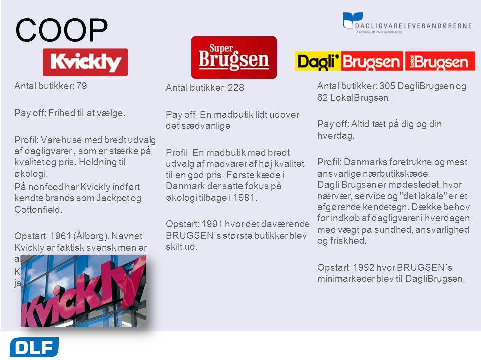 COOP Antal butikker: 79 Pay off: Frihed til at vælge.