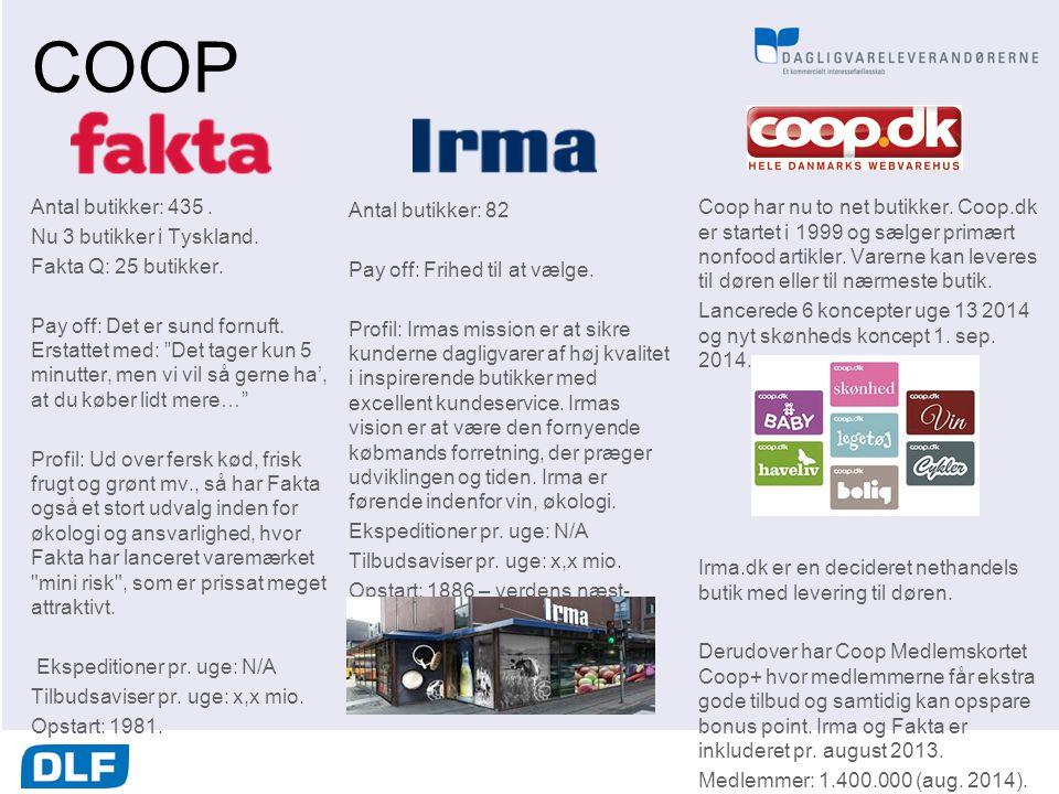 COOP Antal butikker: 435 . Nu 3 butikker i Tyskland.