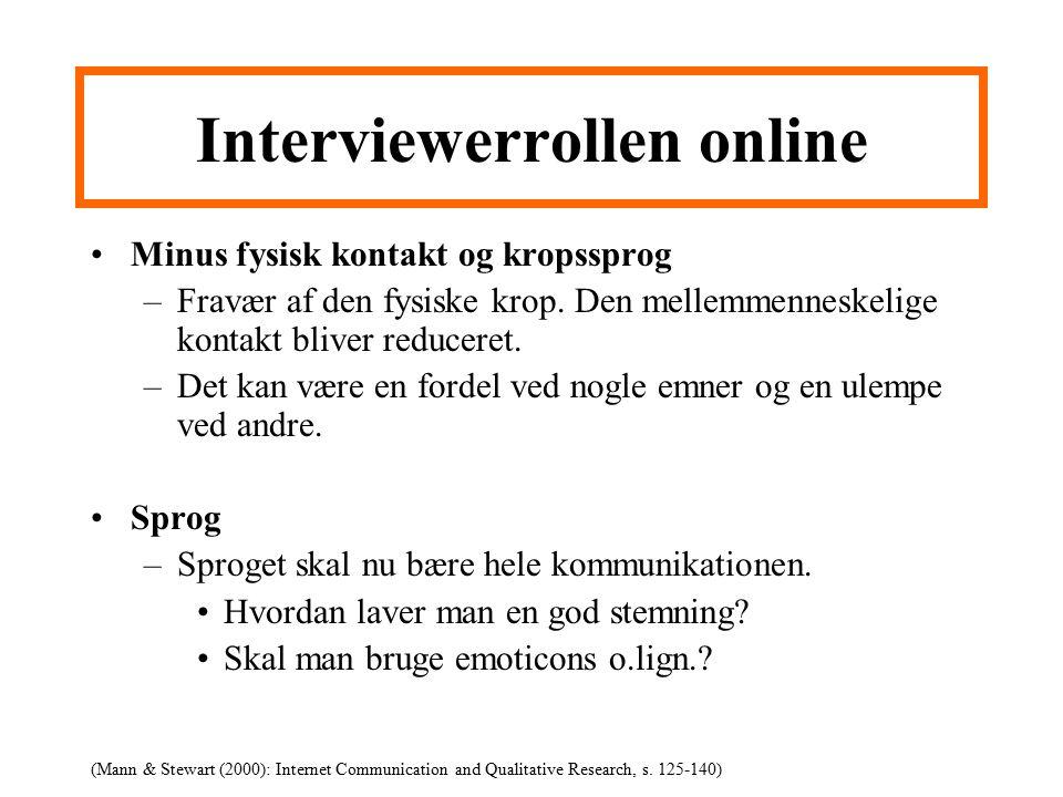 Interviewerrollen online