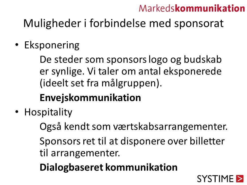 Muligheder i forbindelse med sponsorat