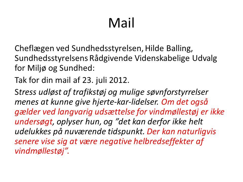 Mail Cheflægen ved Sundhedsstyrelsen, Hilde Balling, Sundhedsstyrelsens Rådgivende Videnskabelige Udvalg for Miljø og Sundhed: