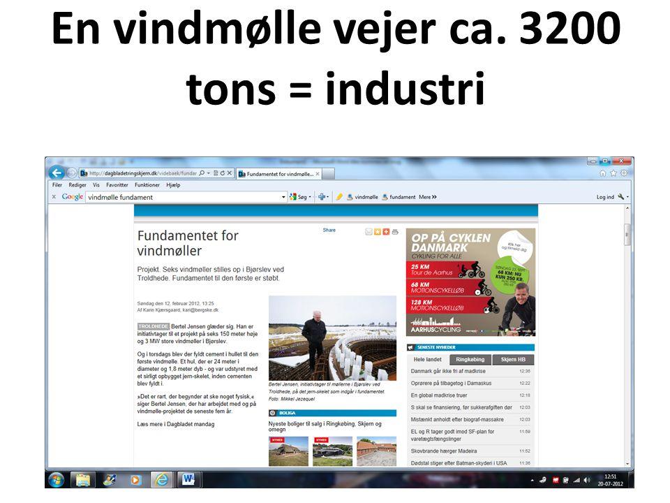 En vindmølle vejer ca. 3200 tons = industri