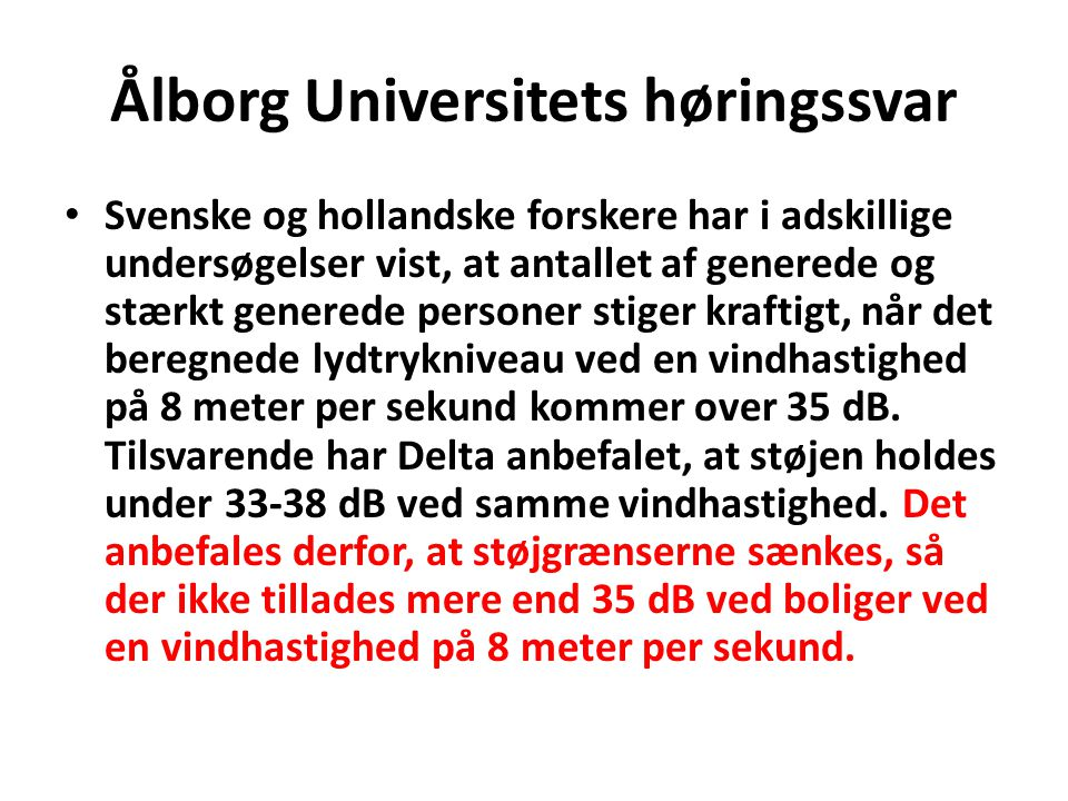 Ålborg Universitets høringssvar