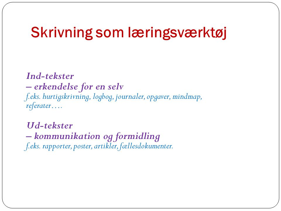 Skrivning som læringsværktøj