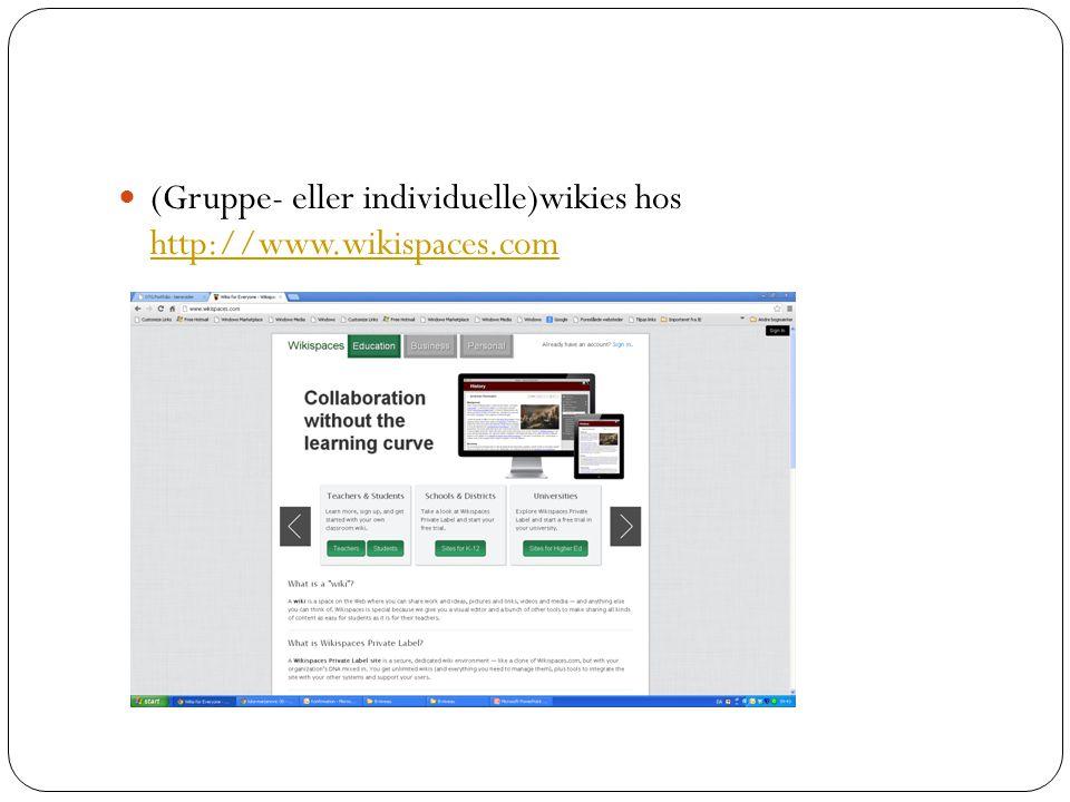 (Gruppe- eller individuelle)wikies hos http://www.wikispaces.com