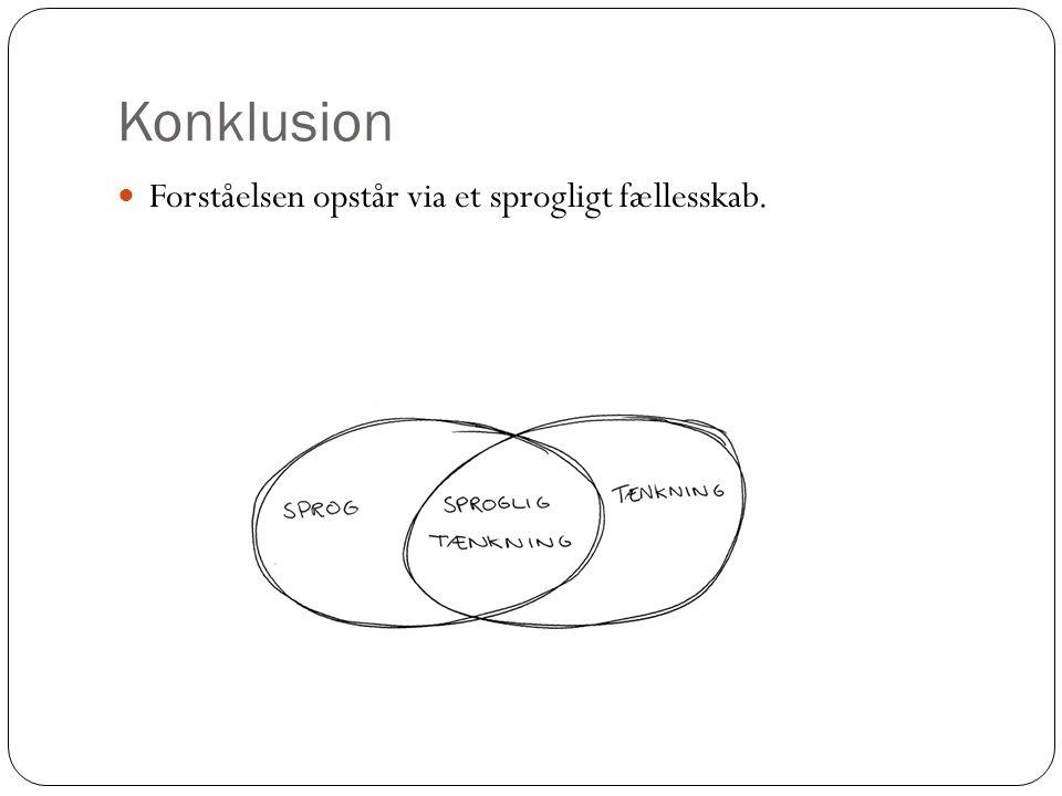 Konklusion Forståelsen opstår via et sprogligt fællesskab.