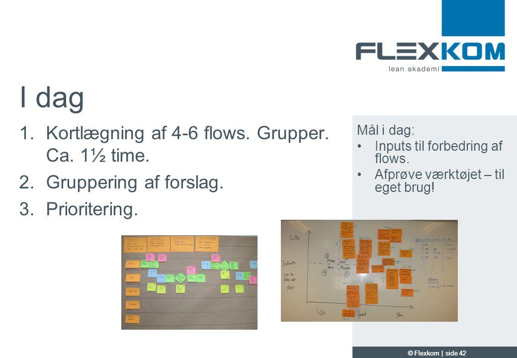 I dag Kortlægning af 4-6 flows. Grupper. Ca. 1½ time.