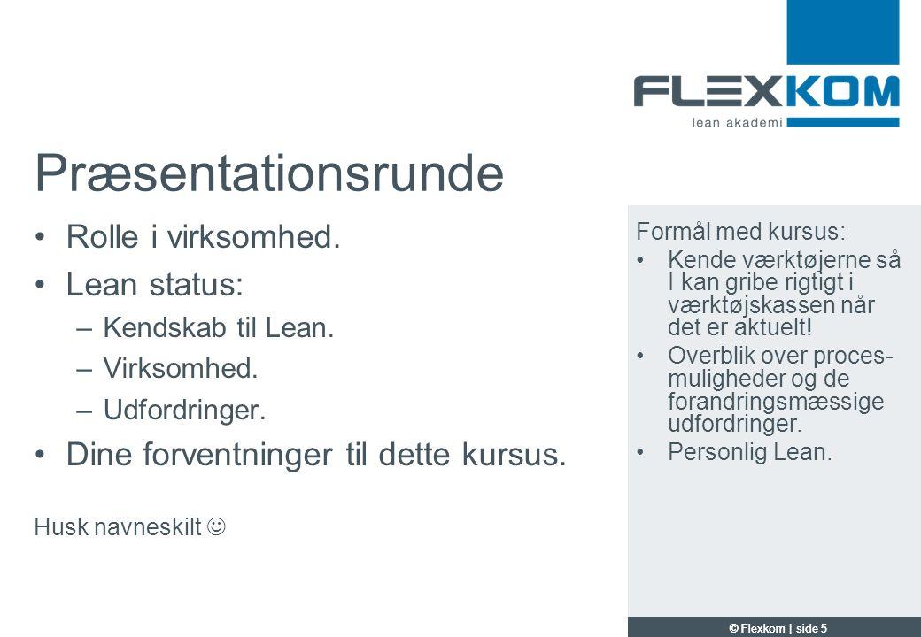 Præsentationsrunde Rolle i virksomhed. Lean status: