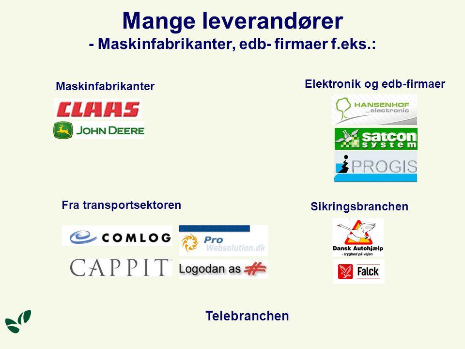 Mange leverandører - Maskinfabrikanter, edb- firmaer f.eks.: