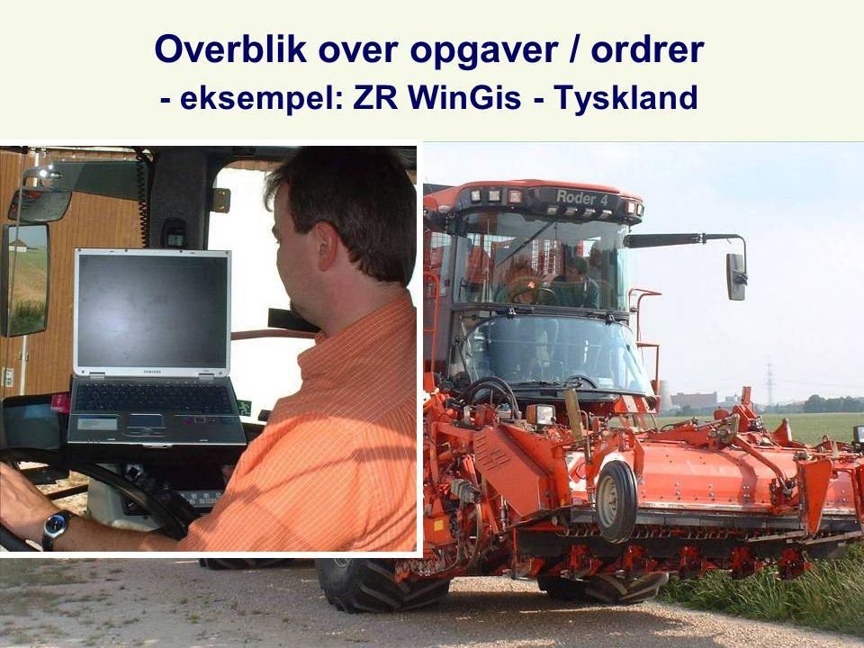 Overblik over opgaver / ordrer - eksempel: ZR WinGis - Tyskland