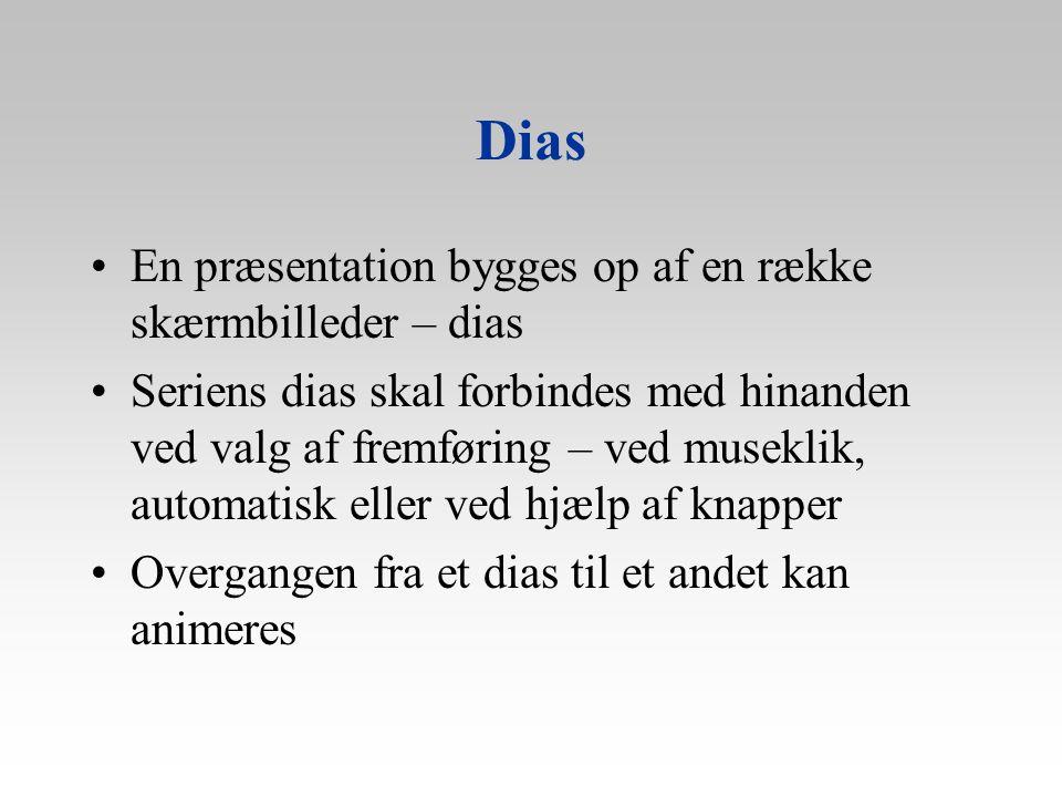 Dias En præsentation bygges op af en række skærmbilleder – dias