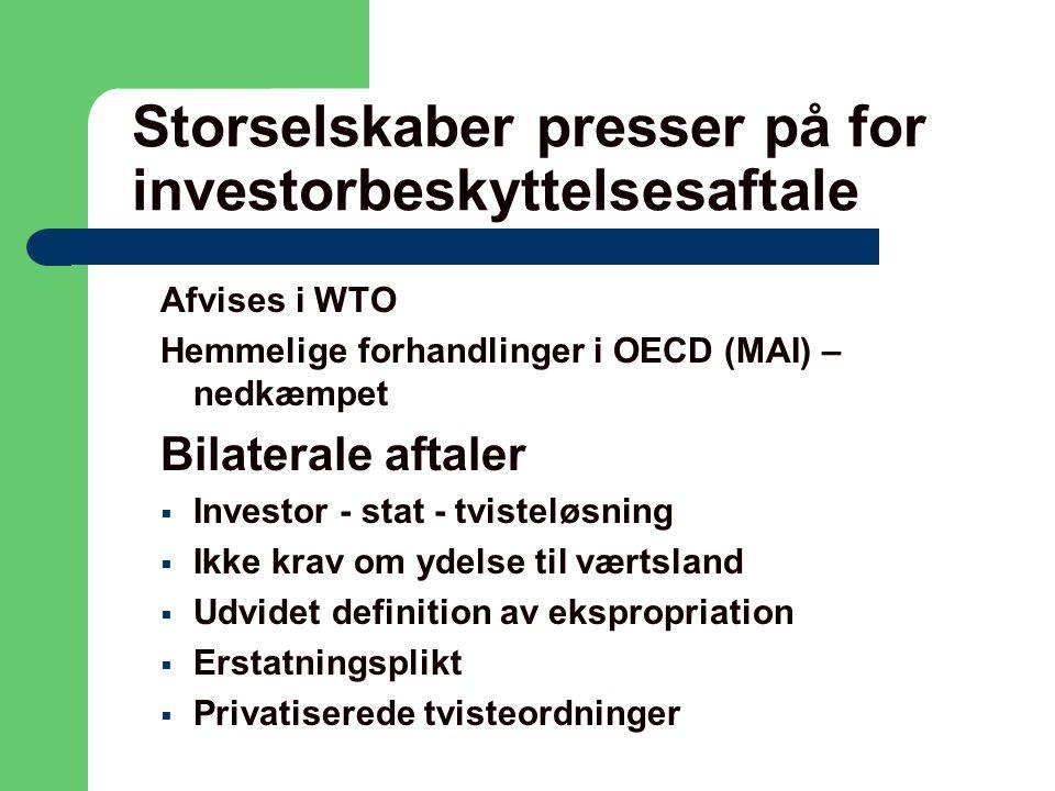 Storselskaber presser på for investorbeskyttelsesaftale