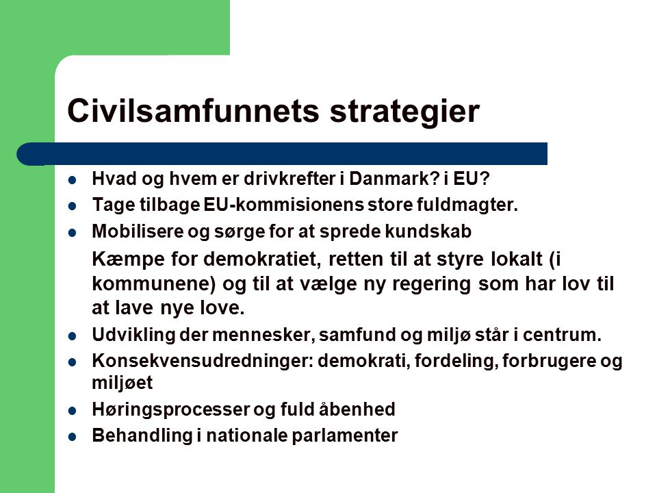 Civilsamfunnets strategier