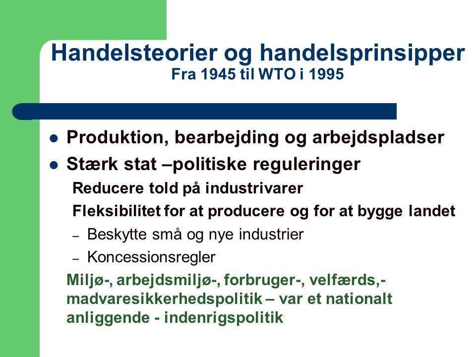 Handelsteorier og handelsprinsipper Fra 1945 til WTO i 1995