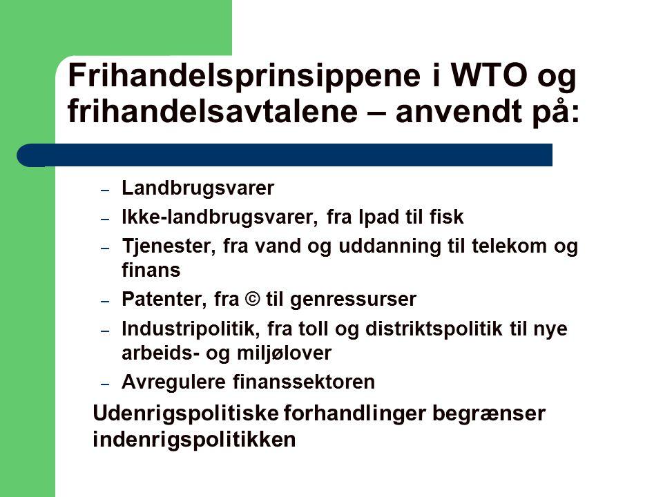 Frihandelsprinsippene i WTO og frihandelsavtalene – anvendt på: