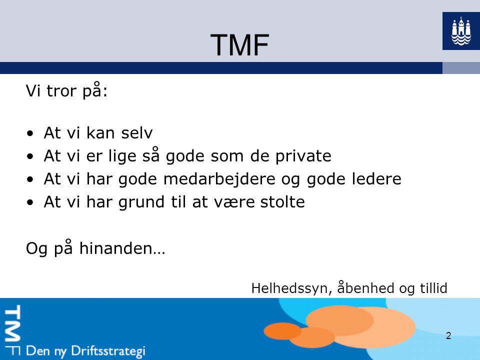 TMF Vi tror på: At vi kan selv At vi er lige så gode som de private