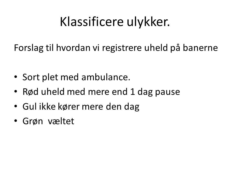 Klassificere ulykker. Forslag til hvordan vi registrere uheld på banerne. Sort plet med ambulance.