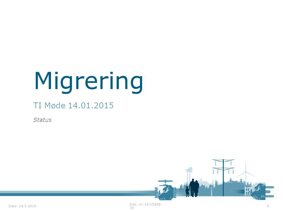 Migrering TI Møde 14.01.2015 Status Dok. nr: 14/15488-26