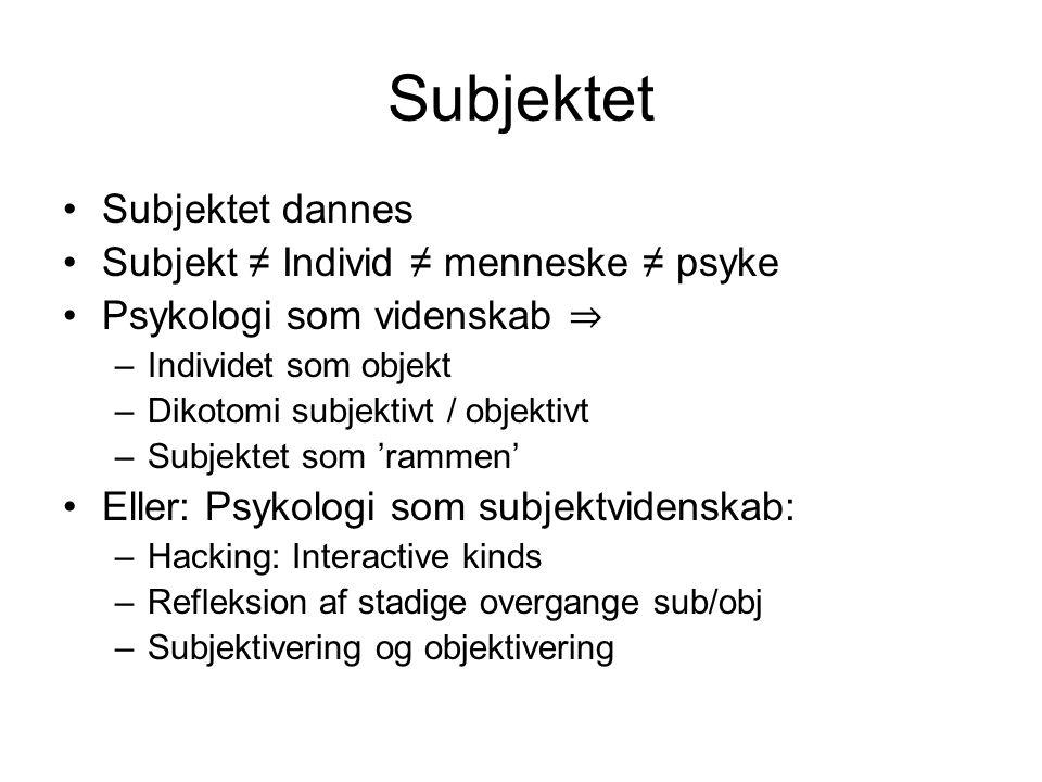 Subjektet Subjektet dannes Subjekt ≠ Individ ≠ menneske ≠ psyke