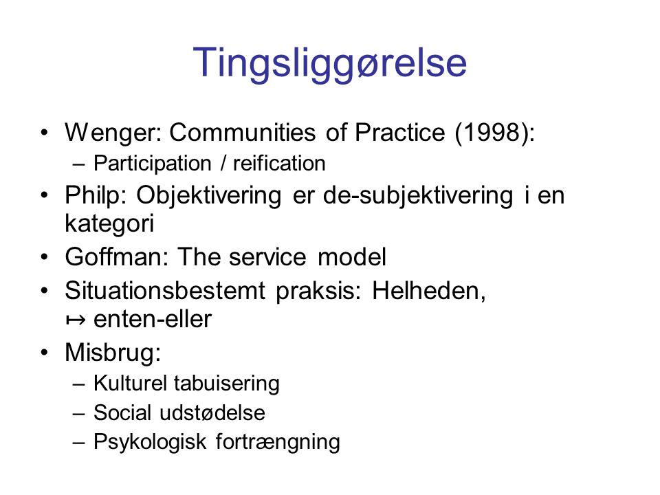 Tingsliggørelse Wenger: Communities of Practice (1998):