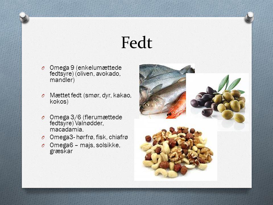 Fedt Omega 9 (enkelumættede fedtsyre) (oliven, avokado, mandler)